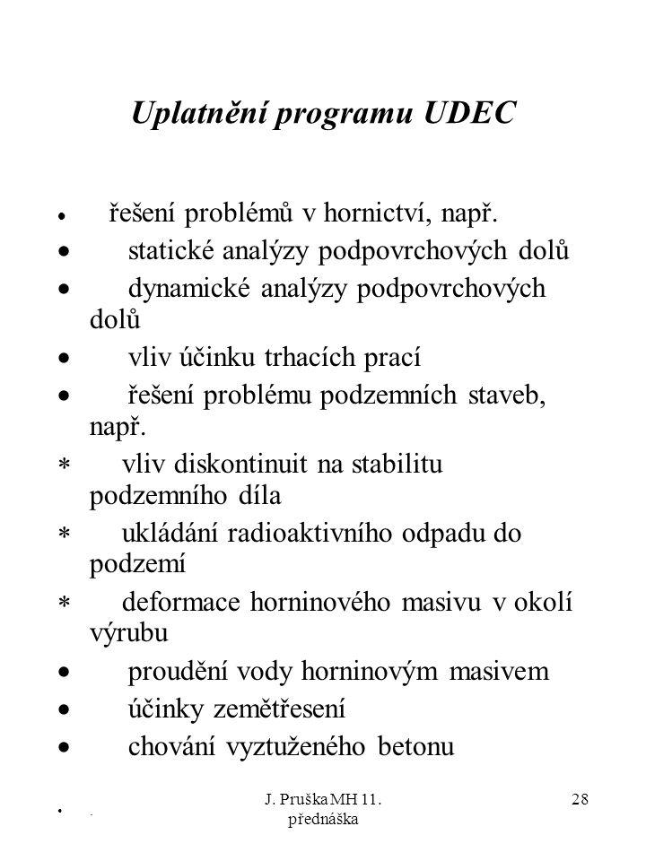 J. Pruška MH 11. přednáška 28 Uplatnění programu UDEC  řešení problémů v hornictví, např.  statické analýzy podpovrchových dolů  dynamické analýzy