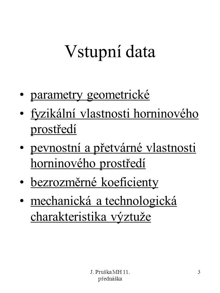 J. Pruška MH 11. přednáška 3 Vstupní data parametry geometrické fyzikální vlastnosti horninového prostředí pevnostní a přetvárné vlastnosti horninovéh