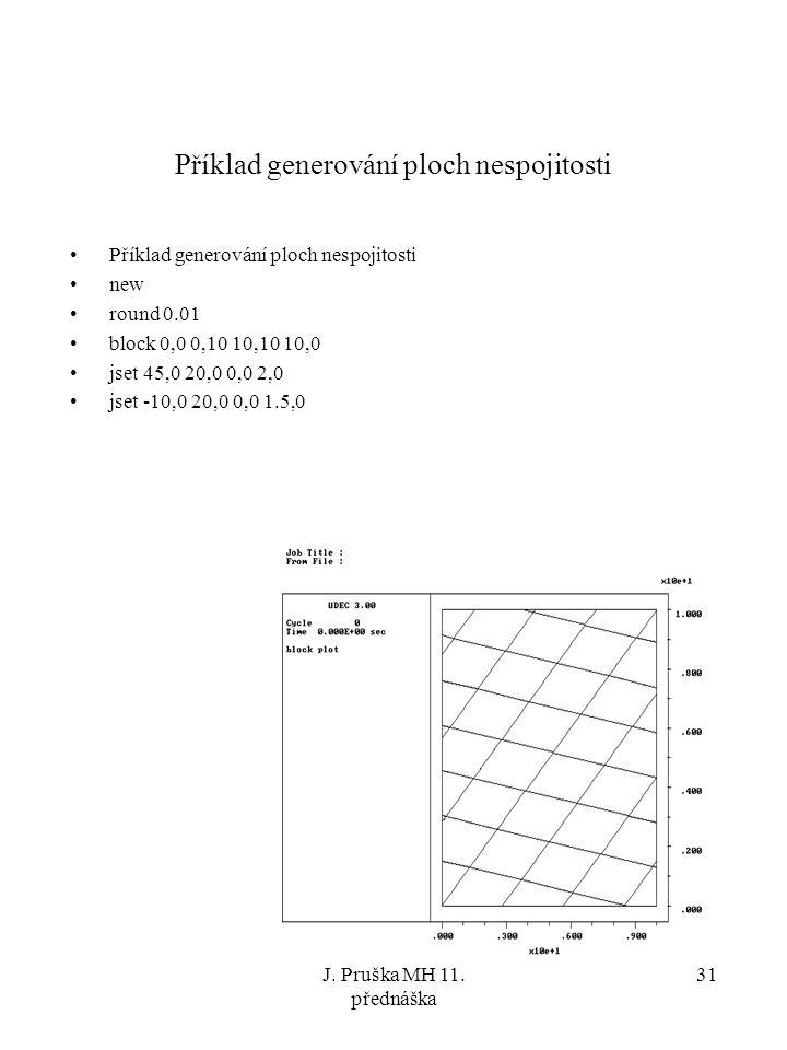 J. Pruška MH 11. přednáška 31 Příklad generování ploch nespojitosti new round 0.01 block 0,0 0,10 10,10 10,0 jset 45,0 20,0 0,0 2,0 jset -10,0 20,0 0,
