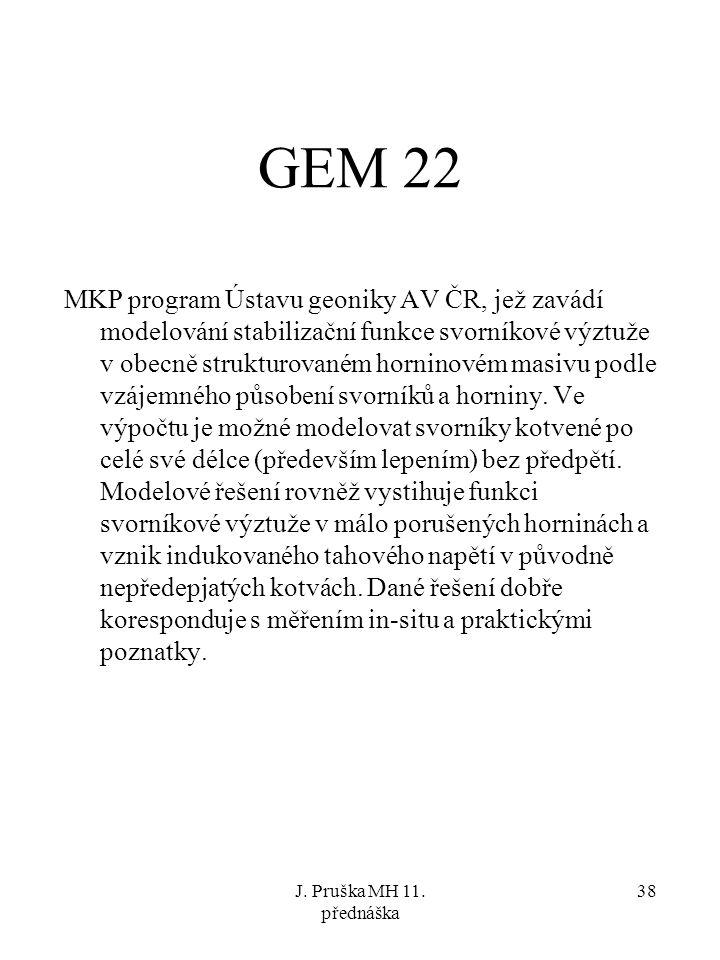 J. Pruška MH 11. přednáška 38 GEM 22 MKP program Ústavu geoniky AV ČR, jež zavádí modelování stabilizační funkce svorníkové výztuže v obecně strukturo