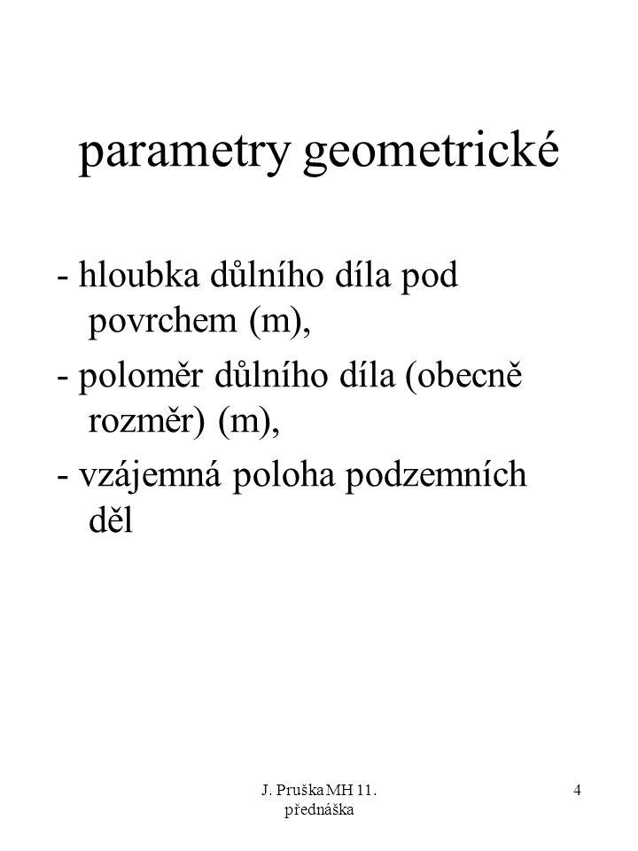 J. Pruška MH 11. přednáška 4 parametry geometrické - hloubka důlního díla pod povrchem (m), - poloměr důlního díla (obecně rozměr) (m), - vzájemná pol