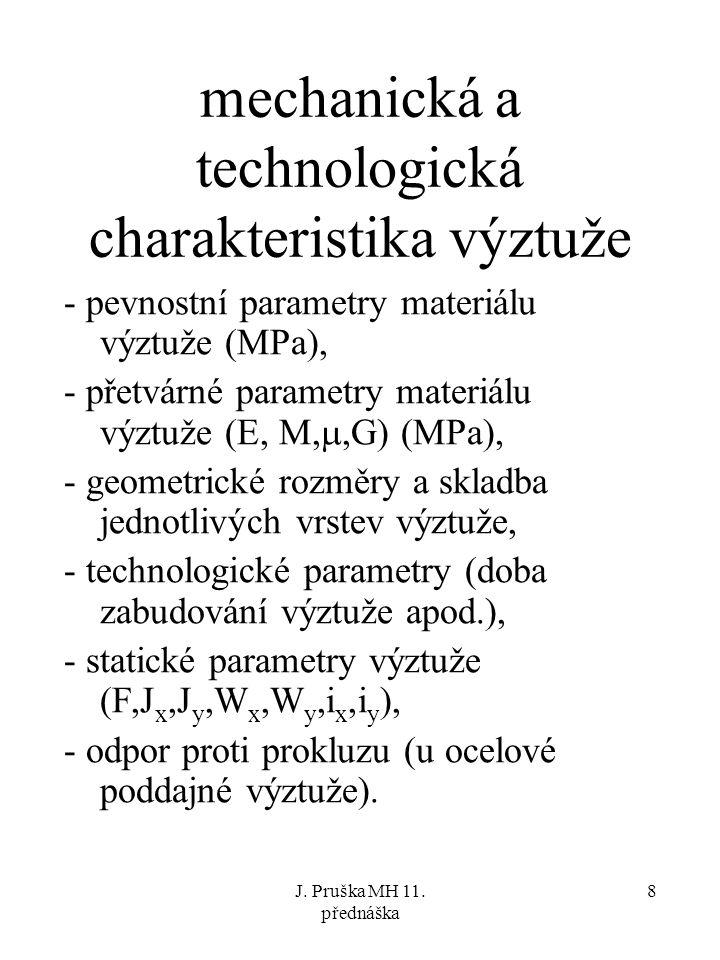 J. Pruška MH 11. přednáška 8 mechanická a technologická charakteristika výztuže - pevnostní parametry materiálu výztuže (MPa), - přetvárné parametry m