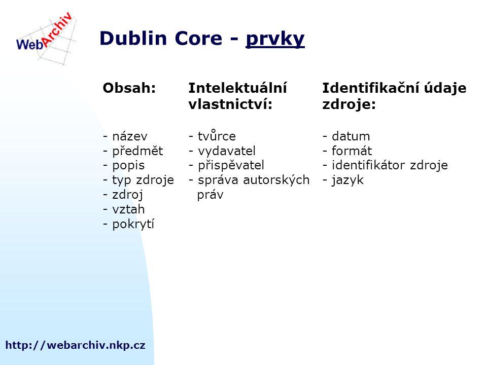 http://webarchiv.nkp.cz Dublin Core - prvkyprvky Obsah:Intelektuální Identifikační údaje vlastnictví:zdroje: - název- tvůrce- datum - předmět- vydavatel- formát - popis- přispěvatel- identifikátor zdroje - typ zdroje- správa autorských- jazyk - zdroj práv - vztah - pokrytí