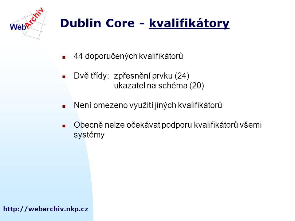 http://webarchiv.nkp.cz Dublin Core - kvalifikátorykvalifikátory 44 doporučených kvalifikátorů Dvě třídy:zpřesnění prvku (24) ukazatel na schéma (20) Není omezeno využití jiných kvalifikátorů Obecně nelze očekávat podporu kvalifikátorů všemi systémy