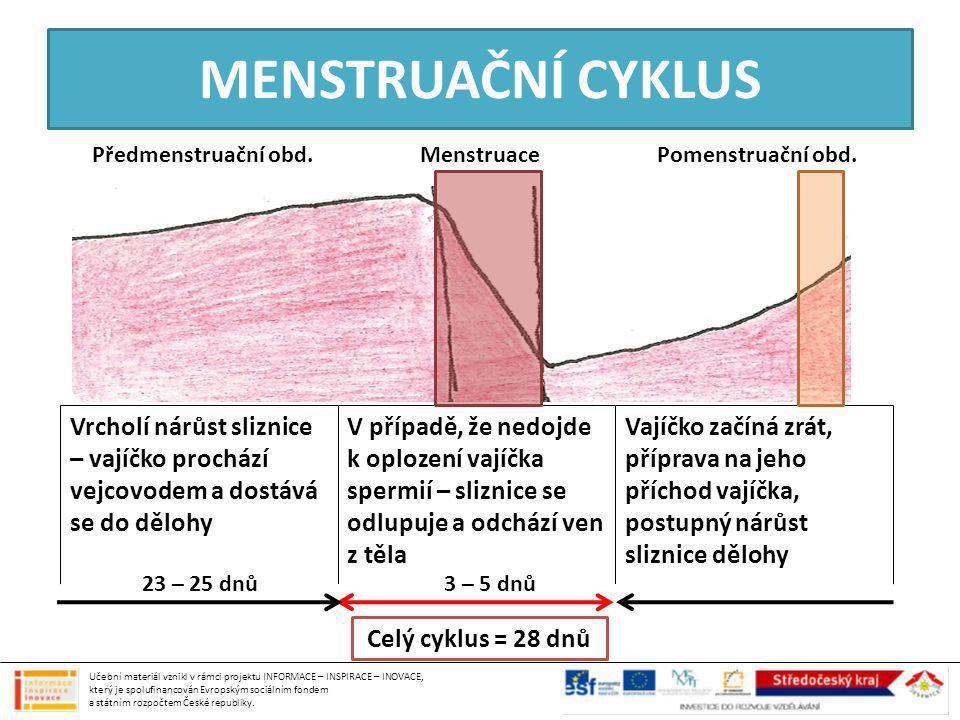 MENSTRUAČNÍ CYKLUS Předmenstruační obd.Pomenstruační obd.Menstruace Vrcholí nárůst sliznice – vajíčko prochází vejcovodem a dostává se do dělohy V pří