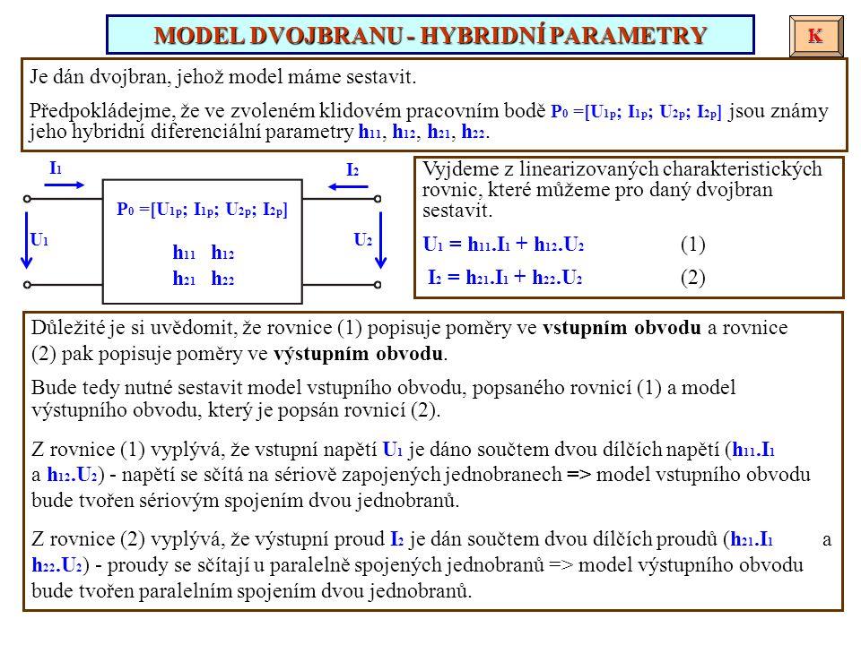Je dán dvojbran, jehož model máme sestavit. Předpokládejme, že ve zvoleném klidovém pracovním bodě P 0 =[U 1p ; I 1p ; U 2p ; I 2p ] jsou známy jeho h