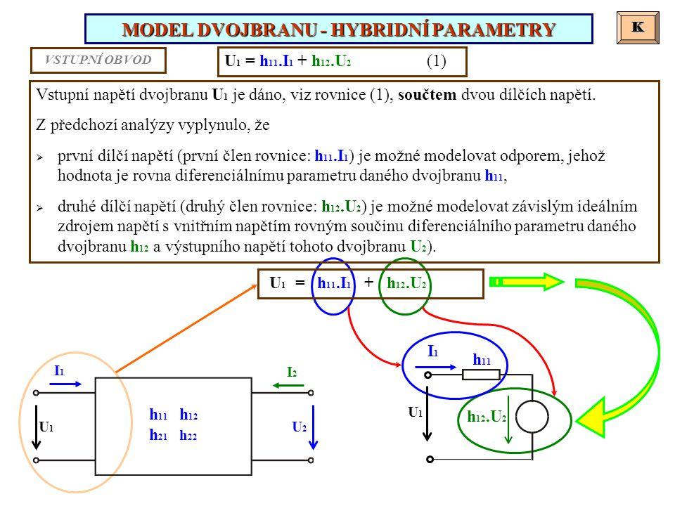 MODEL DVOJBRANU - HYBRIDNÍ PARAMETRY K K U 1 = h 11.I 1 + h 12.U 2 (1) Vstupní napětí dvojbranu U 1 je dáno, viz rovnice (1), součtem dvou dílčích nap
