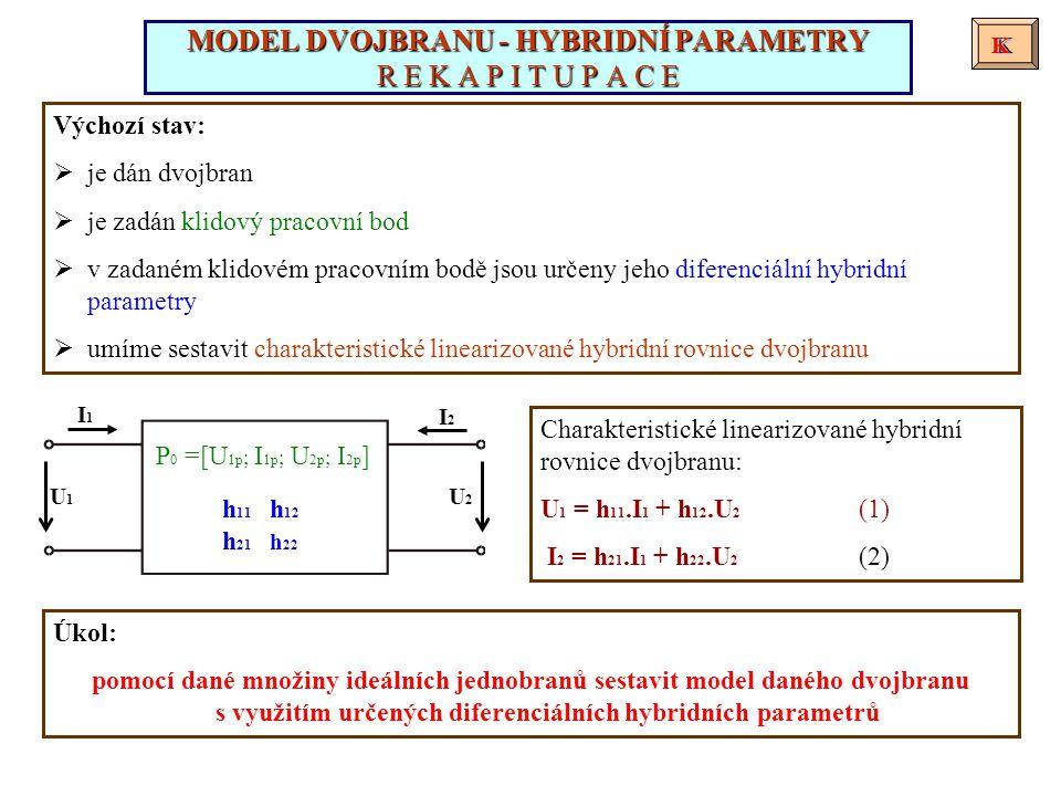 Při sestavování modelu daného dvojbranu vyjdeme z charakteristických linearizovaných impedančních rovnic dvojbranu.