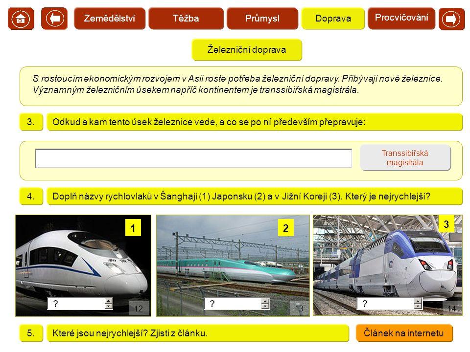 Železniční doprava Transsibiřská magistrála S rostoucím ekonomickým rozvojem v Asii roste potřeba železniční dopravy. Přibývají nové železnice. Význam