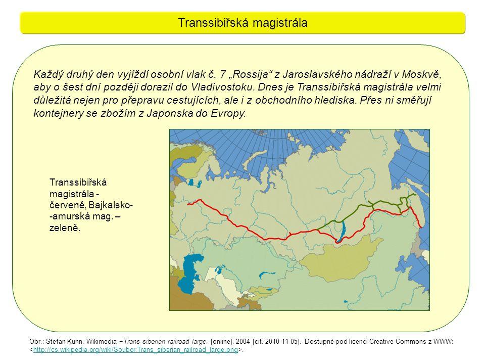 """Každý druhý den vyjíždí osobní vlak č. 7 """"Rossija"""" z Jaroslavského nádraží v Moskvě, aby o šest dní později dorazil do Vladivostoku. Dnes je Transsibi"""