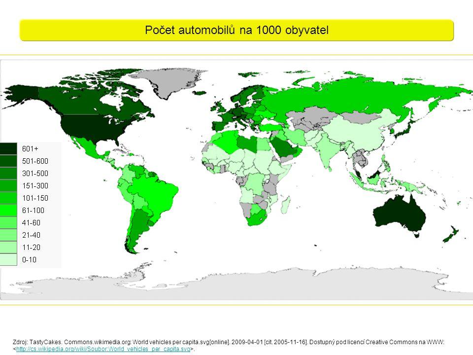 Zdroj: TastyCakes. Commons.wikimedia.org: World vehicles per capita.svg[online]. 2009-04-01 [cit. 2005-11-16]. Dostupný pod licencí Creative Commons n