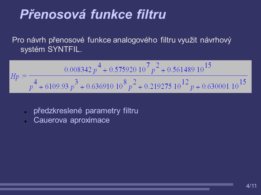 4/11 Přenosová funkce filtru Pro návrh přenosové funkce analogového filtru využit návrhový systém SYNTFIL. předzkreslené parametry filtru Cauerova apr