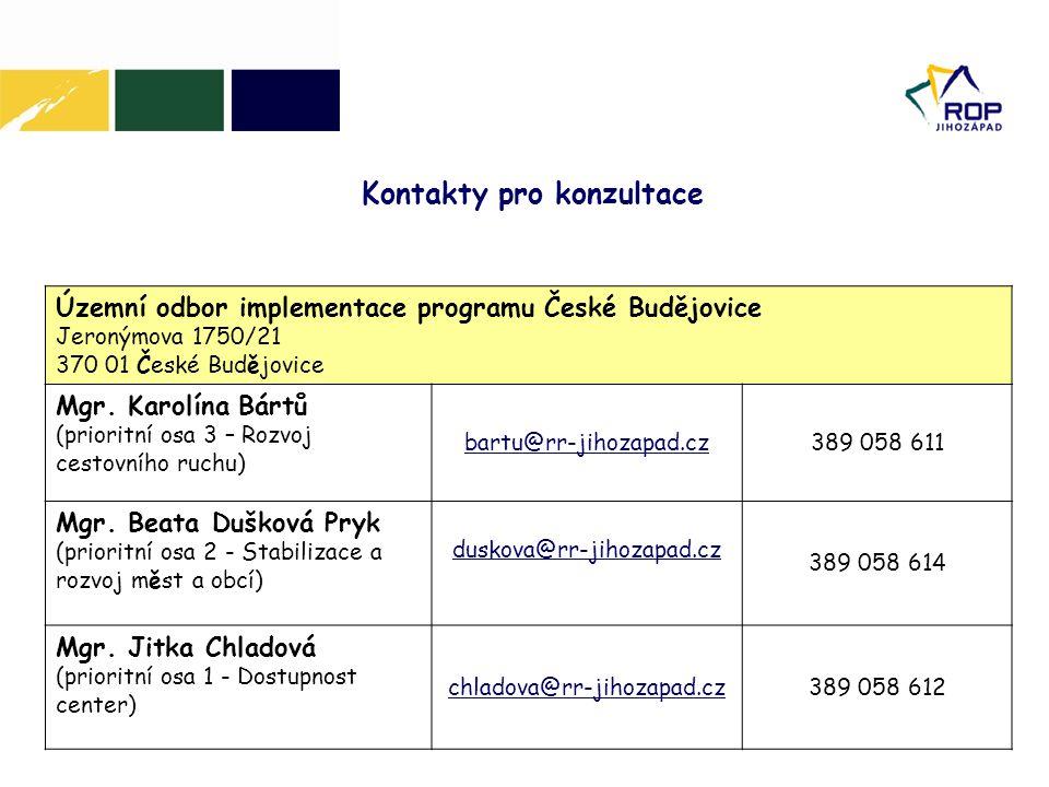 Územní odbor implementace programu České Budějovice Jeronýmova 1750/21 370 01 České Budějovice Mgr. Karolína Bártů (prioritní osa 3 – Rozvoj cestovníh