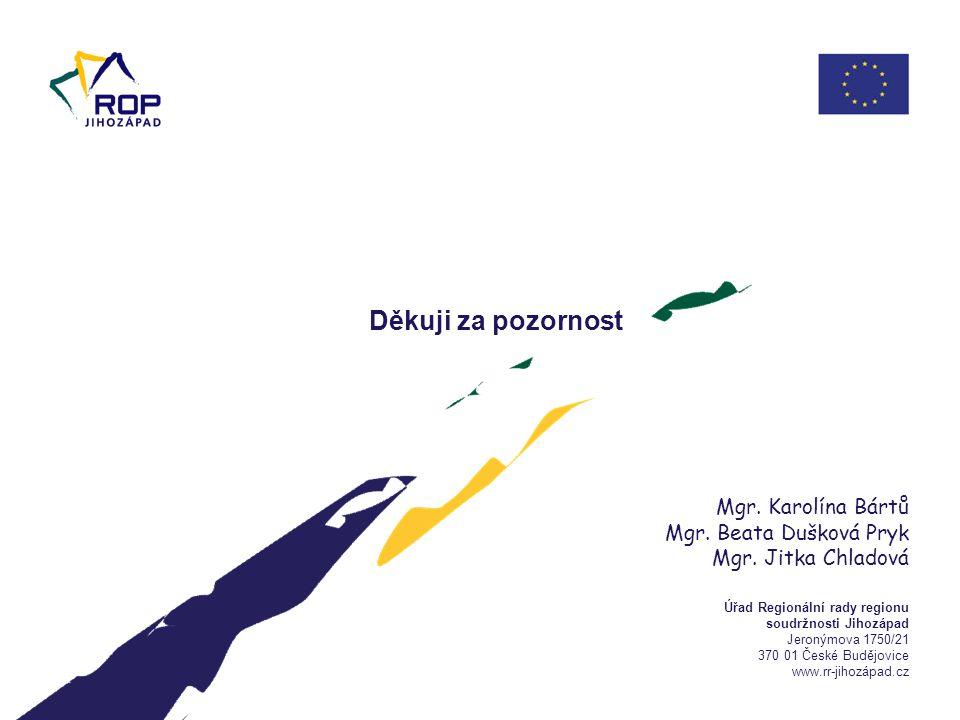 Úřad Regionální rady regionu soudržnosti Jihozápad Jeronýmova 1750/21 370 01 České Budějovice www.rr-jihozápad.cz Děkuji za pozornost Mgr. Karolína Bá