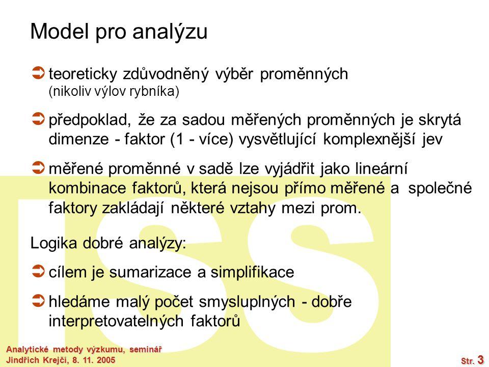 ISS Analytické metody výzkumu, seminář Jindřich Krejčí, 8. 11. 2005 Str. 3 Model pro analýzu  teoreticky zdůvodněný výběr proměnných (nikoliv výlov r