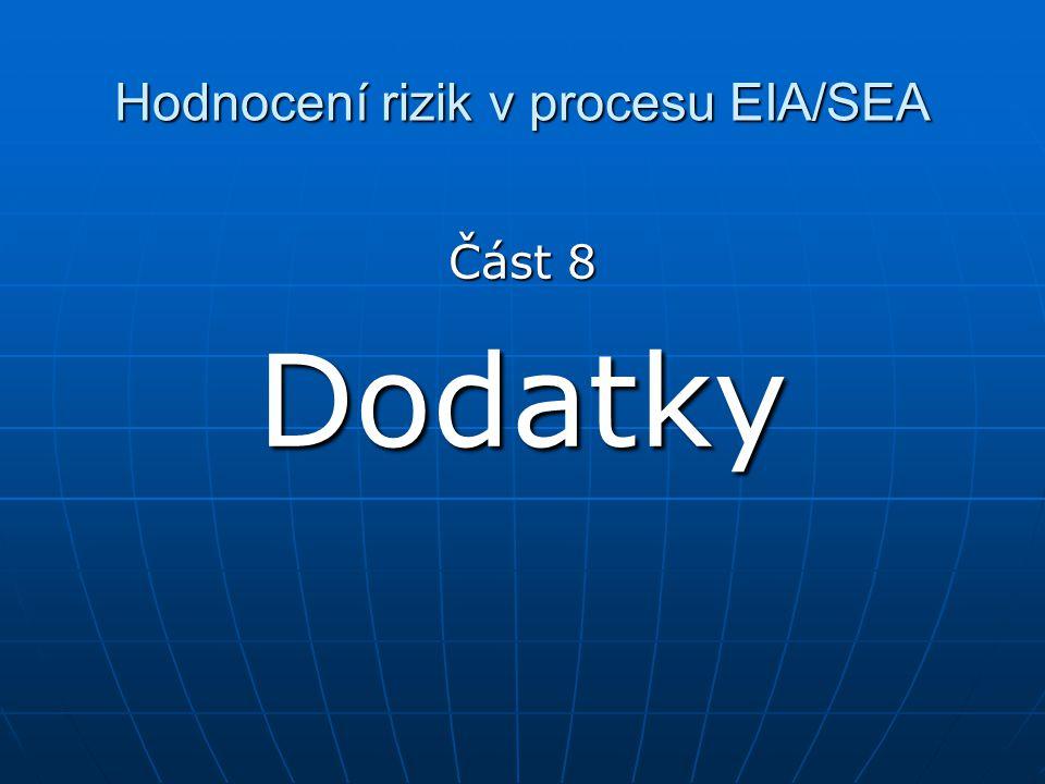 Hodnocení rizik v procesu EIA/SEA Část 8 Dodatky