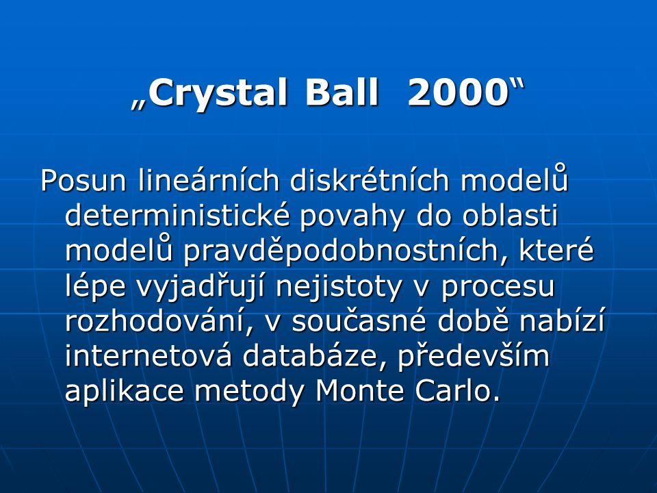 """""""Crystal Ball 2000 Posun lineárních diskrétních modelů deterministické povahy do oblasti modelů pravděpodobnostních, které lépe vyjadřují nejistoty v procesu rozhodování, v současné době nabízí internetová databáze, především aplikace metody Monte Carlo."""