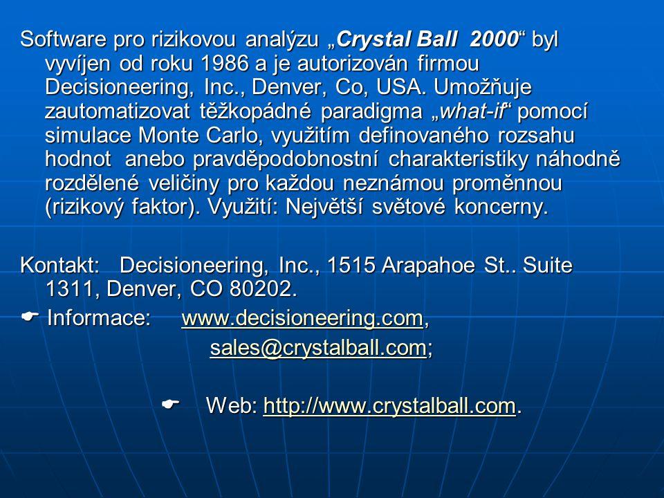 """Software pro rizikovou analýzu """"Crystal Ball 2000 byl vyvíjen od roku 1986 a je autorizován firmou Decisioneering, Inc., Denver, Co, USA."""