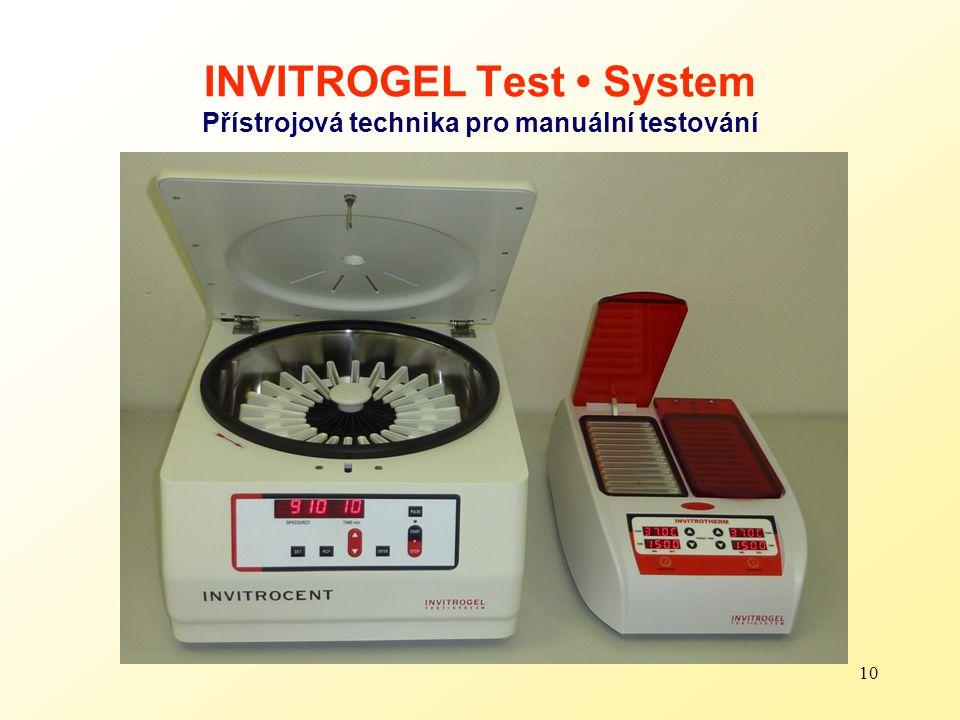 10 INVITROGEL Test System Přístrojová technika pro manuální testování