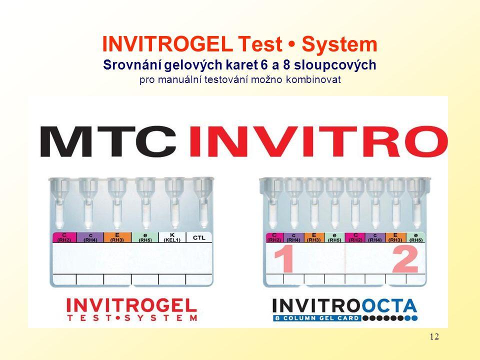 12 INVITROGEL Test System Srovnání gelových karet 6 a 8 sloupcových pro manuální testování možno kombinovat