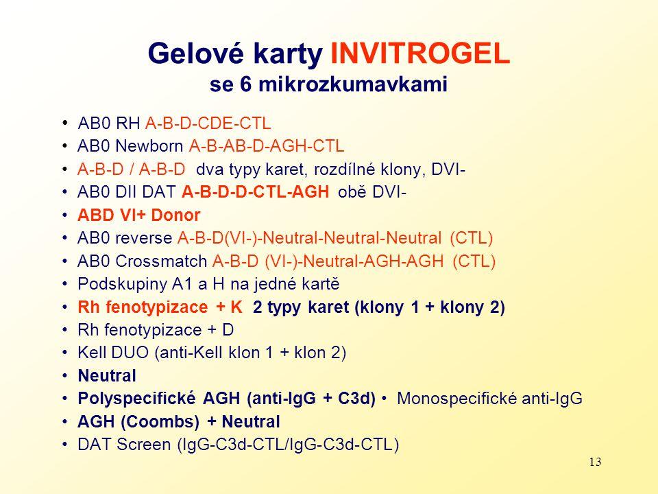 13 Gelové karty INVITROGEL se 6 mikrozkumavkami AB0 RH A-B-D-CDE-CTL AB0 Newborn A-B-AB-D-AGH-CTL A-B-D / A-B-D dva typy karet, rozdílné klony, DVI- A