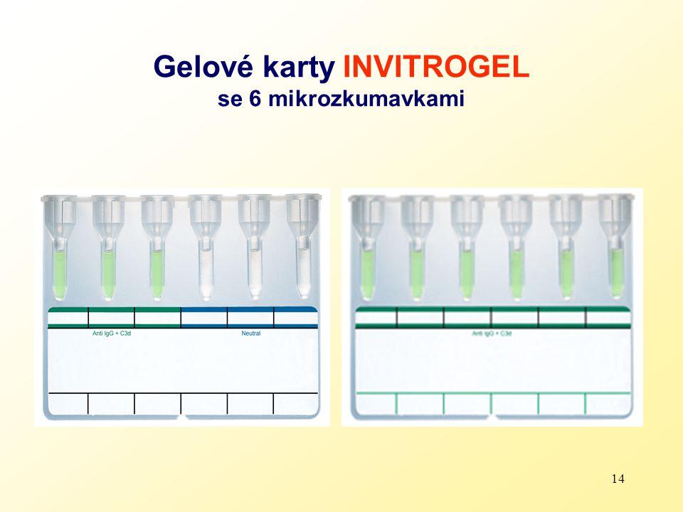 14 Gelové karty INVITROGEL se 6 mikrozkumavkami