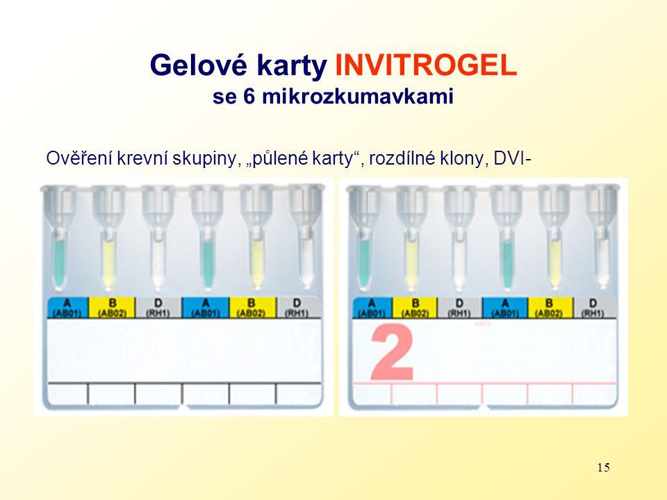 """15 Gelové karty INVITROGEL se 6 mikrozkumavkami Ověření krevní skupiny, """"půlené karty"""", rozdílné klony, DVI-"""