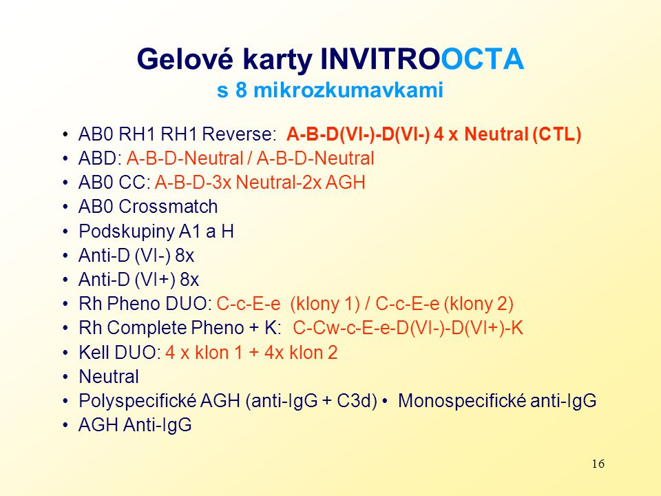 16 Gelové karty INVITROOCTA s 8 mikrozkumavkami AB0 RH1 RH1 Reverse: A-B-D(VI-)-D(VI-) 4 x Neutral (CTL) ABD: A-B-D-Neutral / A-B-D-Neutral AB0 CC: A-