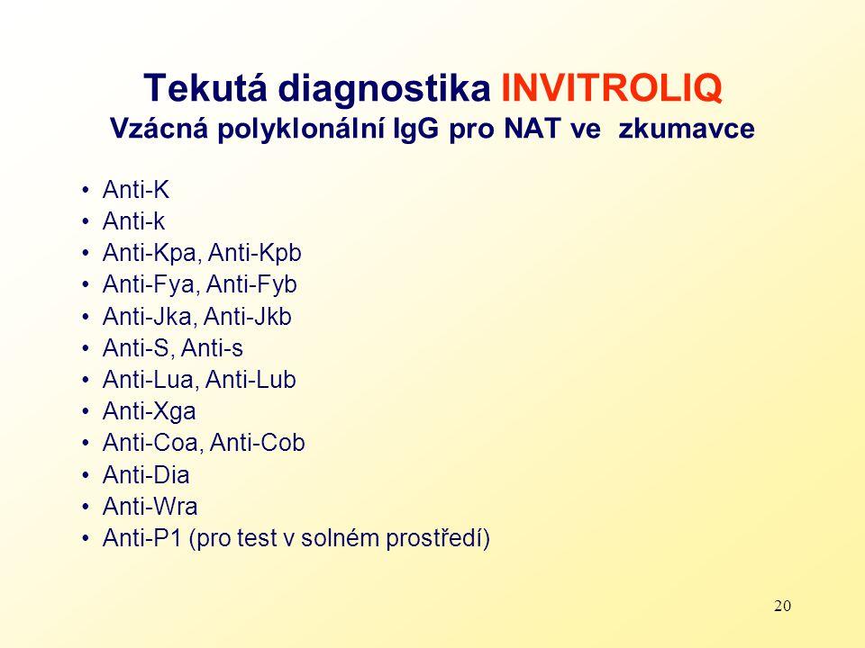 20 Tekutá diagnostika INVITROLIQ Vzácná polyklonální IgG pro NAT ve zkumavce Anti-K Anti-k Anti-Kpa, Anti-Kpb Anti-Fya, Anti-Fyb Anti-Jka, Anti-Jkb An