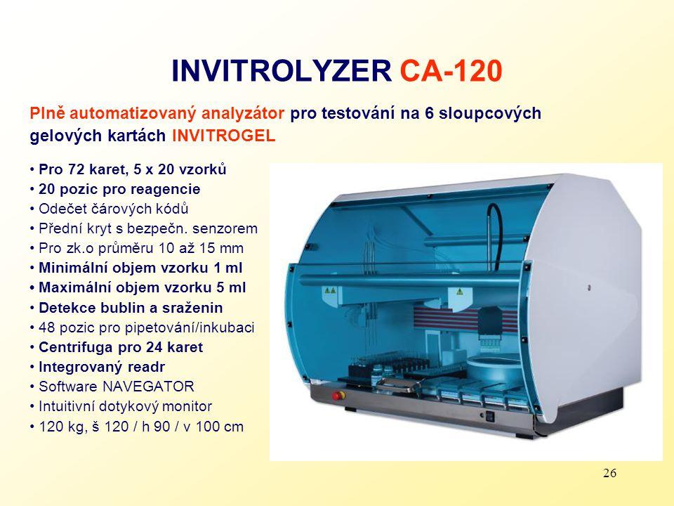 26 INVITROLYZER CA-120 Plně automatizovaný analyzátor pro testování na 6 sloupcových gelových kartách INVITROGEL Pro 72 karet, 5 x 20 vzorků 20 pozic