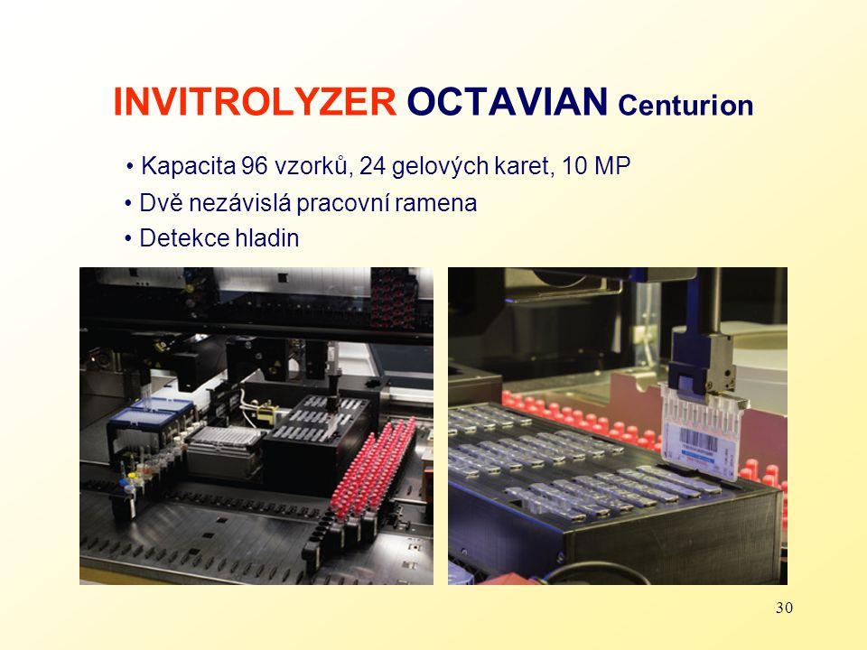 30 INVITROLYZER OCTAVIAN Centurion Kapacita 96 vzorků, 24 gelových karet, 10 MP Dvě nezávislá pracovní ramena Detekce hladin