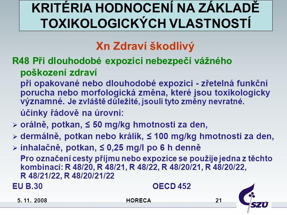 5. 11. 2008 HORECA 21 R48 Při dlouhodobé expozici nebezpečí vážného poškození zdraví při opakované nebo dlouhodobé expozici - zřetelná funkční porucha