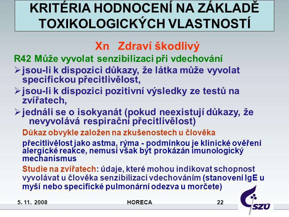 5. 11. 2008 HORECA 22 Xn Zdraví škodlivý R42 Může vyvolat senzibilizaci při vdechování  jsou-li k dispozici důkazy, že látka může vyvolat specifickou