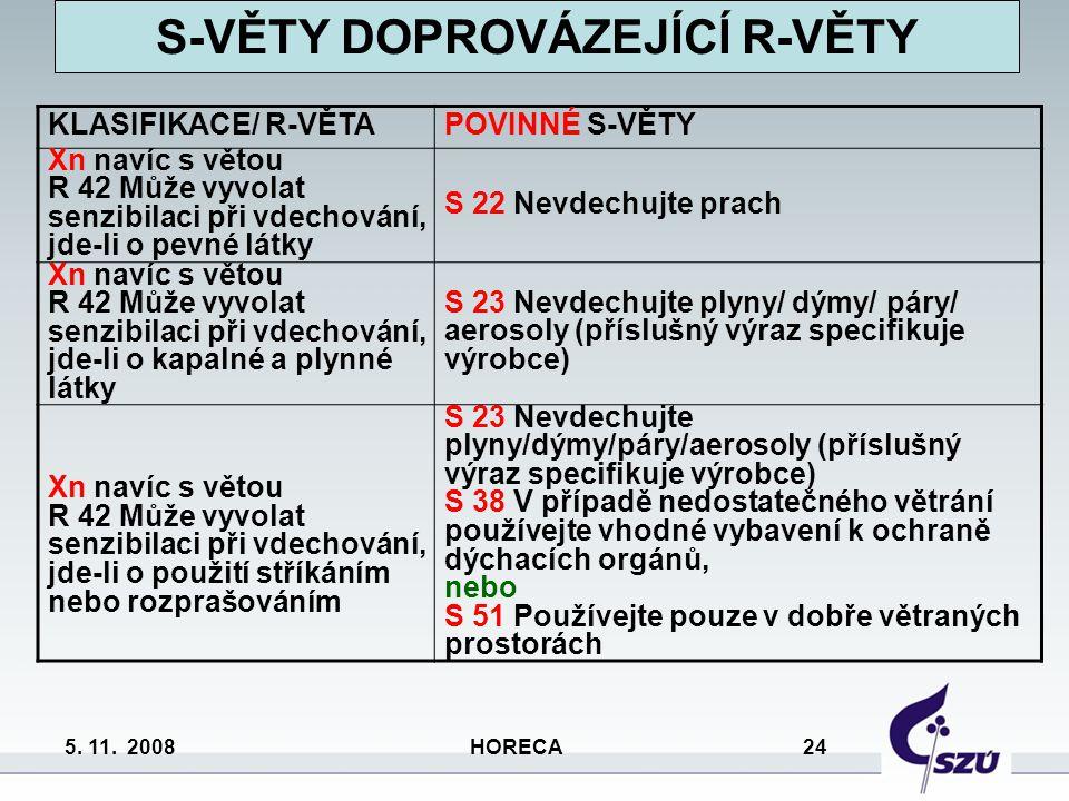 5. 11. 2008 HORECA 24 KLASIFIKACE/ R-VĚTAPOVINNÉ S-VĚTY Xn navíc s větou R 42 Může vyvolat senzibilaci při vdechování, jde-li o pevné látky S 22 Nevde