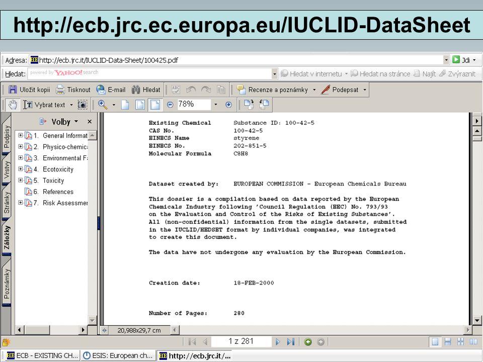 5. 11. 2008 HORECA 50 http://ecb.jrc.ec.europa.eu/IUCLID-DataSheet