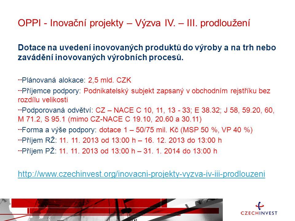 OPPI - Inovační projekty – Výzva IV. – III. prodloužení Dotace na uvedení inovovaných produktů do výroby a na trh nebo zavádění inovovaných výrobních