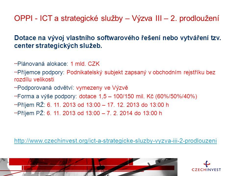 OPPI - ICT a strategické služby – Výzva III – 2. prodloužení Dotace na vývoj vlastního softwarového řešení nebo vytváření tzv. center strategických sl
