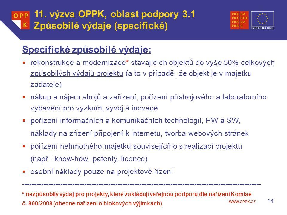 WWW.OPPK.CZ 14 Specifické způsobilé výdaje:  rekonstrukce a modernizace* stávajících objektů do výše 50% celkových způsobilých výdajů projektu (a to