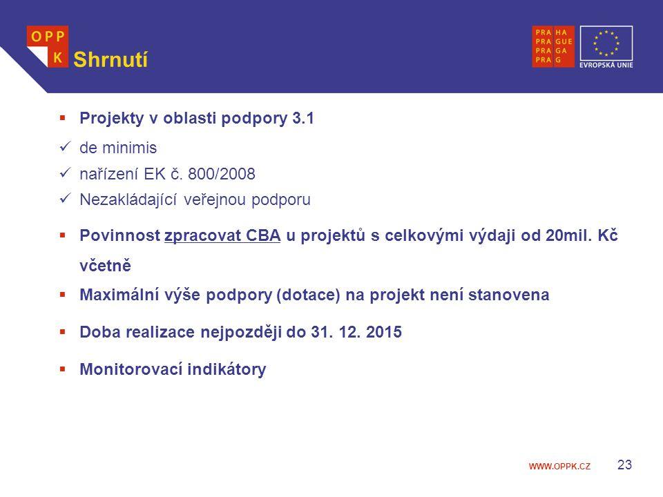 WWW.OPPK.CZ 23 Shrnutí  Projekty v oblasti podpory 3.1 de minimis nařízení EK č. 800/2008 Nezakládající veřejnou podporu  Povinnost zpracovat CBA u