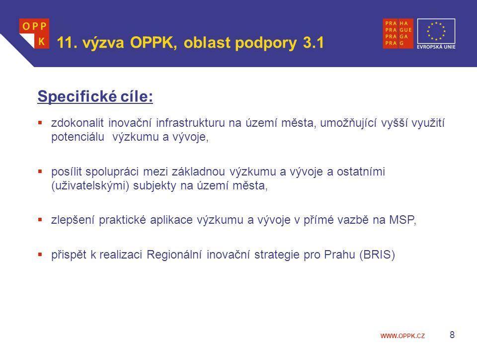 WWW.OPPK.CZ 8 Specifické cíle:  zdokonalit inovační infrastrukturu na území města, umožňující vyšší využití potenciálu výzkumu a vývoje,  posílit sp