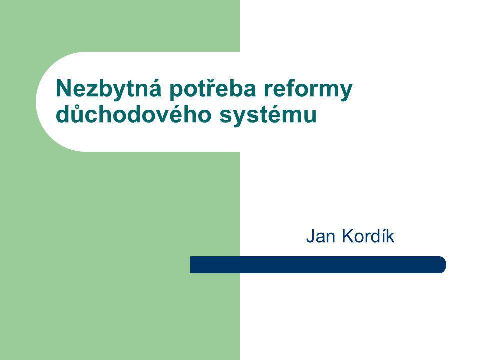 Důchodová reforma 2 Typy důchodových systémů 1.