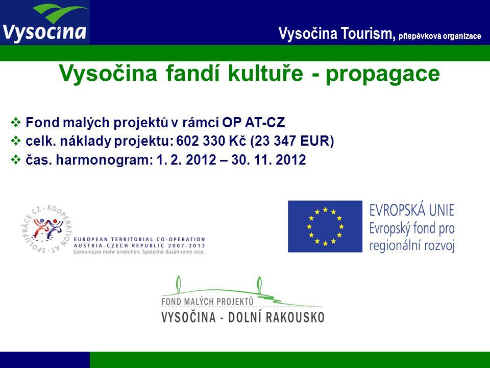 24.11.2014 10 Vysočina Tourism, příspěvková organizace Vysočina fandí kultuře - propagace  Fond malých projektů v rámci OP AT-CZ  celk. náklady proj