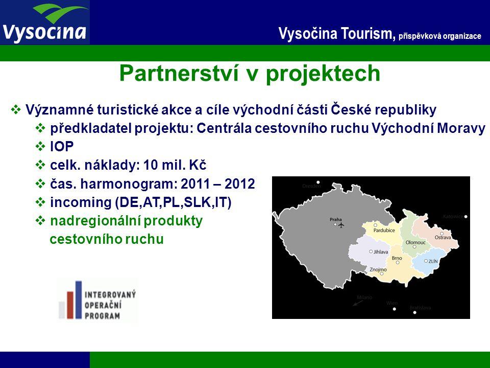 24.11.2014 13 Vysočina Tourism, příspěvková organizace Partnerství v projektech  Významné turistické akce a cíle východní části České republiky  pře