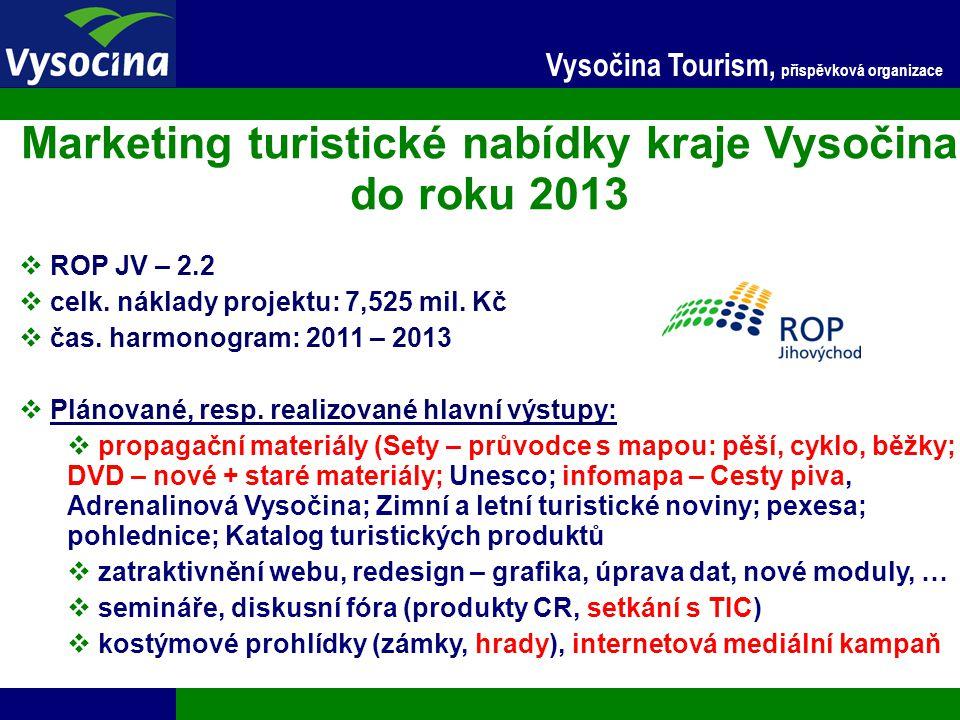24.11.2014 5 Vysočina Tourism, příspěvková organizace Marketing turistické nabídky kraje Vysočina do roku 2013  ROP JV – 2.2  celk. náklady projektu