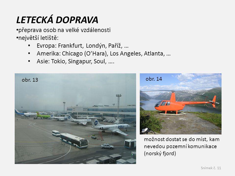 Snímek č. 11 LETECKÁ DOPRAVA přeprava osob na velké vzdálenosti největší letiště: Evropa: Frankfurt, Londýn, Paříž, … Amerika: Chicago (O'Hara), Los A
