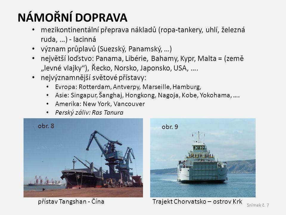 Snímek č. 7 NÁMOŘNÍ DOPRAVA mezikontinentální přeprava nákladů (ropa-tankery, uhlí, železná ruda, …) - lacinná význam průplavů (Suezský, Panamský, …)