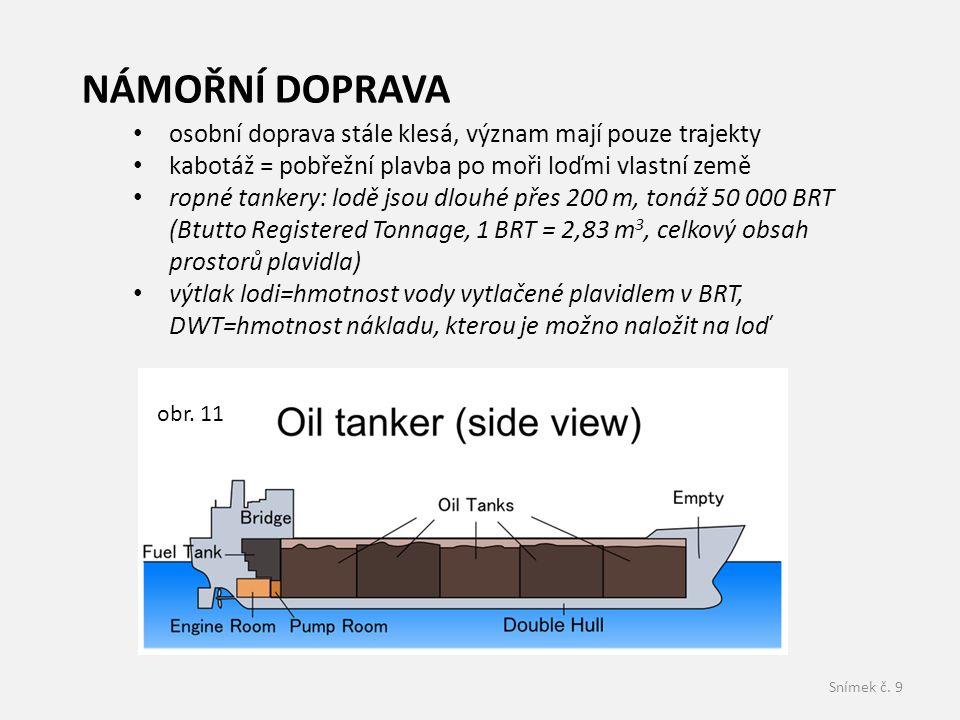 Snímek č. 9 osobní doprava stále klesá, význam mají pouze trajekty kabotáž = pobřežní plavba po moři loďmi vlastní země ropné tankery: lodě jsou dlouh