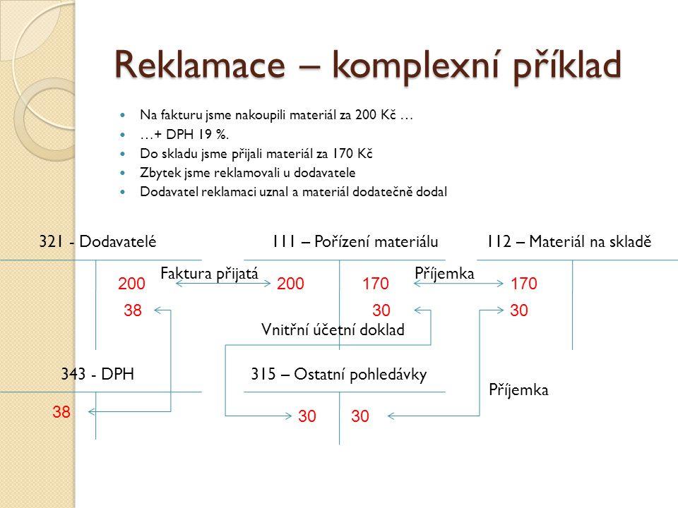 Reklamace – komplexní příklad Na fakturu jsme nakoupili materiál za 200 Kč … …+ DPH 19 %.