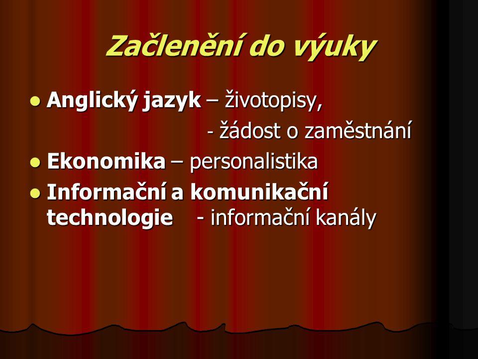 Začlenění do výuky Anglický jazyk – životopisy, Anglický jazyk – životopisy, - žádost o zaměstnání - žádost o zaměstnání Ekonomika – personalistika Ekonomika – personalistika Informační a komunikační technologie - informační kanály Informační a komunikační technologie - informační kanály