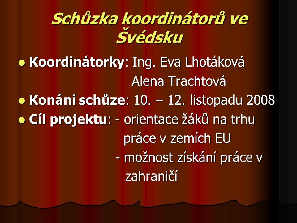 Schůzka koordinátorů ve Švédsku Koordinátorky: Ing.